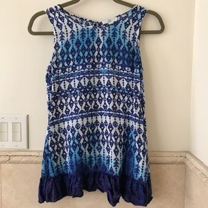 Boho tank top, blue and white, BLL New York, XS